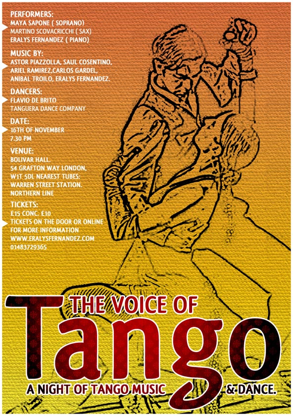 The Voice of Tango at the Bolivar Hall on the 16th November 2013